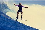 Laird Hamilton surfing hydrofoil at Teahupoo